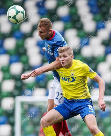 Linfield vs Dungannon Swifts. Linfield's Andrew Mitchell and Corey McMullan of Dungannon Swifts