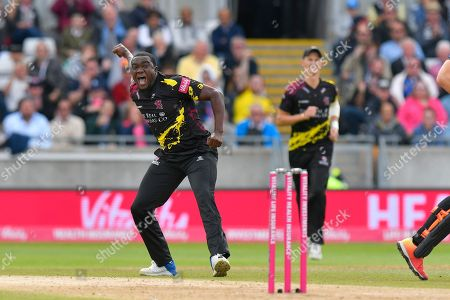 Wicket - Jerome Taylor of Somerset celebrates taking the wicket of Laurie Evans of Sussex during the Vitality T20 Finals Day semi final 2018 match between Sussex Sharks and Somerset County Cricket Club at Edgbaston, Birmingham