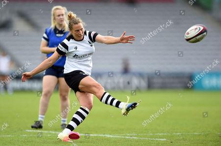 Emily Scott of Bristol Bears Women kicks for the posts