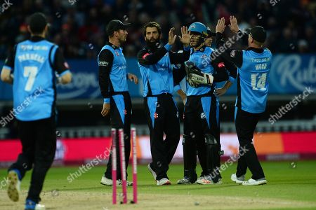Moeen Ali of Worcestershire Rapids and teammates celebrate the wicket of Luke Wright during the final of the Vitality T20 Finals Day 2018 match between Worcestershire Rapids and Sussex Sharks at Edgbaston, Birmingham