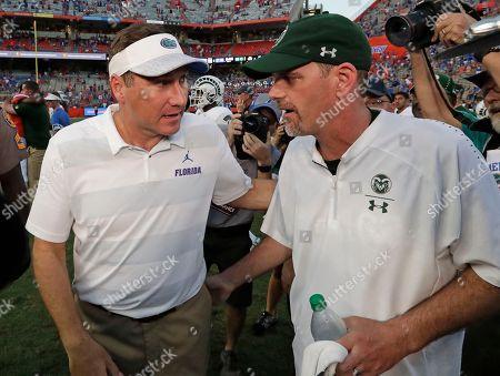 Dan Mullen, Mike Bobo. Florida head coach Dan Mullen, left, greets Colorado State head coach Mike Bobo after an NCAA college football game, in Gainesville, Fla