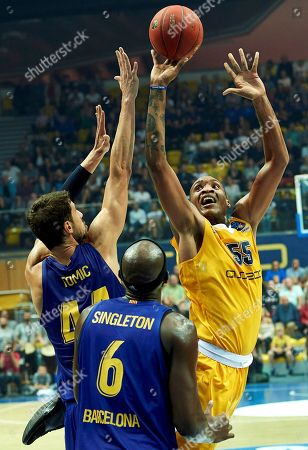 Stock Picture of Robert Upshaw (R) of Arka Gdynia and Ante Tomic (L) and Chris Singleton (C) of FC Barcelona in action during their friendly basketball match in Gdynia, Poland, 15 September 2018.