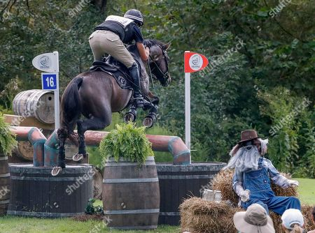 Sir Mark Todd of New Zealand rides McClaren during the cross country test of the Eventing competition at the FEI World Equestrian Games 2018 at the Tryon International Equestrian Center in Mill Spring, North Carolina, USA, 15 September 2018. The World Equestrian Games continue through 23 September 2018.