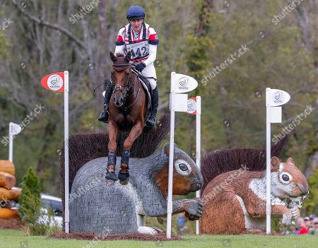 Kristina Cook of Britain rides Billy the Red during the cross country test of the Eventing competition at the FEI World Equestrian Games 2018 at the Tryon International Equestrian Center in Mill Spring, North Carolina, USA, 15 September 2018. The World Equestrian Games continue through 23 September 2018.