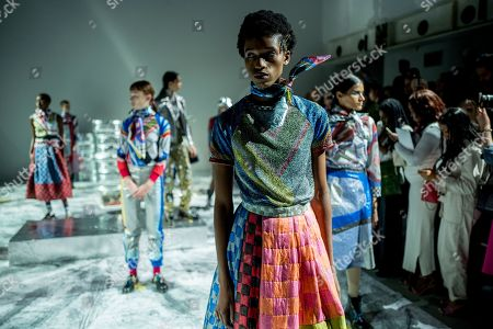 Models present creations by Sadie Williams at the London Fashion Week, in London, Britain, 15 September 2018. The presentation of the Women's Spring-Summer 2018-2019 collections runs from 14 to 18 September.