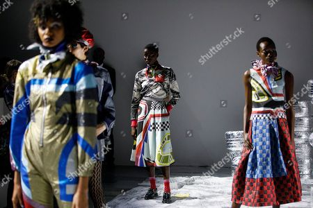 Stock Image of Models present creations by Sadie Williams at the London Fashion Week, in London, Britain, 15 September 2018. The presentation of the Women's Spring-Summer 2018-2019 collections runs from 14 to 18 September.