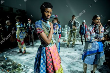 Stock Photo of Models present creations by Sadie Williams at the London Fashion Week, in London, Britain, 15 September 2018. The presentation of the Women's Spring-Summer 2018-2019 collections runs from 14 to 18 September.