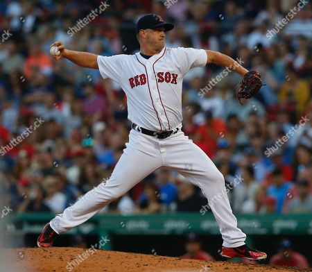 Stock Picture of Boston Red Sox relief pitcher Steven Wright pitches during the seventh inning against the New York Mets at Fenway Park in Boston, Massachusetts, USA, 15 September 2018.