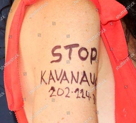 Sarah Sophie Flicker, 'Stop Kavanaugh' tattoo detail