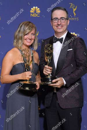 Stock Photo of John Oliver and Liz Stanton - Outstanding Variety/Talk Series - 'Last Week Tonight with John Oliver '