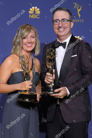 John Oliver and Liz Stanton - Outstanding Variety/Talk Series - 'Last Week Tonight with John Oliver '