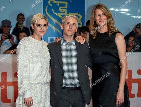 (L-R) US actress and cast member Kristen Stewart, US director Justin Kelly and US actress and cast member Laura Dern arrive for the screening of the movie 'Jeremiah Terminator LeRoy' during the 43rd annual Toronto International Film Festival (TIFF) in Toronto, Canada, 15 September 2018.