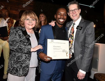 Patrika Darbo, Melvin Jackson Jr., Bob Bergen. Melvin Jackson Jr., center, poses with Television Academy Governors Patrika Darbo, left, and Bob Bergen at the 2018 Performers Nominee Reception presented by the Television Academy at the Wallis Annenberg Center for the Performing Arts, in Beverly Hills, Calif
