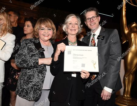 Stock Picture of Patrika Darbo, Christina Pickles, Bob Bergen. Christina Pickles, center, poses with Television Academy Governors Patrika Darbo, left, and Bob Bergen at the 2018 Performers Nominee Reception presented by the Television Academy at the Wallis Annenberg Center for the Performing Arts, in Beverly Hills, Calif