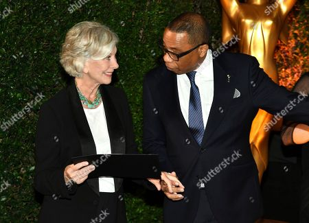 Stock Photo of Christina Pickles, Hayma Washington. Emmy nominee Christina Pickles, left, poses with Television Academy Chairman and CEO Hayma Washington at the 2018 Performers Nominee Reception presented by the Television Academy at the Wallis Annenberg Center for the Performing Arts, in Beverly Hills, Calif