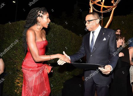 Diarra Kilpatrick, Hayma Washington. Emmy nominee Diarra Kilpatrick, left, poses with Television Academy Chairman and CEO Hayma Washington at the 2018 Performers Nominee Reception presented by the Television Academy at the Wallis Annenberg Center for the Performing Arts, in Beverly Hills, Calif