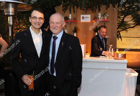 Stock Image of Frank Morrone, Steve Venezia. Frank Morrone, left, and Steve Venezia attend Ketel One Vodka bar, the Official Spirits Partner of the 70th Emmy Awards Season