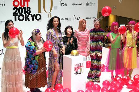 Japanese model Rina Fukushi, Comedian Naomi Watanabe, model Ai Tominaga, Vogue Japan chief editor Mitsuko Watanabe, models Rola, Yuka Mizuhara, Aya and Ami