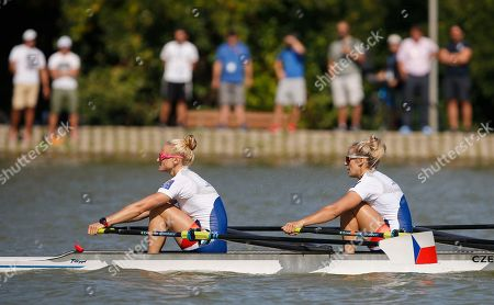 Czech Republic's Kristyna Fleissnerova, left, and Lenka Antosova compete in the final of the Women's Double Skulls at the World Rowing Championships in Plovdiv, Bulgaria