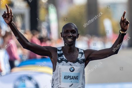 Third placed Kenya's Wilson Kipsang crosses the finish line of the men's category of the Berlin Marathon, in Berlin, Germany, 16 September 2018. Over 44,000 athletes have taken the start on the 45th edition of the race in the German capital.