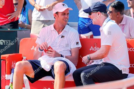 Sam Querrey (L) and head Coach Jim Courier (R)  of the USA during the Davis Cup semi final tie between Croatia and the USA in Zadar, Croatia, 16 September 2018.