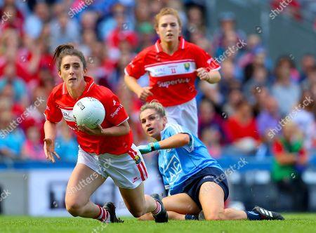 Dublin vs Cork. Cork's Ciara O'Sullivan with Martha Byrne of Dublin
