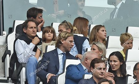 Juventus's President Andrea Agnelli, John Elkann, Lavinia Barromeo and Pavel Nedved during the Italian serie A soccer match Juventus FC vs U.S. Sassuolo at Allianz Stadium in Turin, Italy, 16 September 2018.