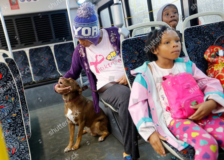 Dana Taylor, pets her dog Brownie after being evacuated with her children Dana 7, and Timothy, 9, right, from their flooded neighborhood as Florence continues to dump heavy rain in Fayetteville, N.C