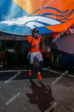 Denver Broncos punter Marquette King (1) takes the field prior to an NFL football game against the Oakland Raiders, in Denver