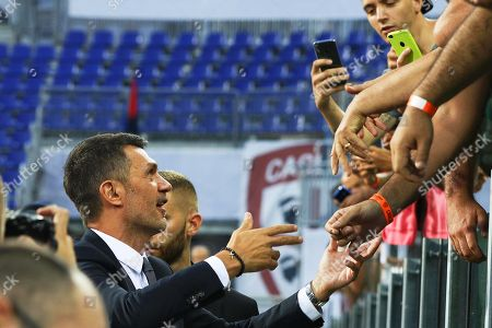 Milan's sports director Paolo Maldini (L) greets fans prior to the Italian Serie A soccer match between Cagliari Calcio and AC Milan in Cagliari, Italy, 16 September 2018.