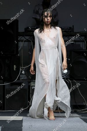 Stock Picture of Ashish Gupta. A model wears a creation by designer Ashish during his Spring/Summer 2019 runway show at London Fashion Week in London