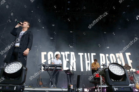 Mark Foster, Sean Cimino, Isom Innis, Mark Pontius. Mark Foster, Sean Cimino, Isom Innis and Mark Pontius with Foster The People performs during Music MidTown 2018 at Piedmont Park, in Atlanta