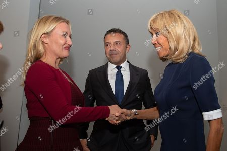 """Stock Photo of French President Emmanuel Macron and his wife Brigitte Trogneux meet Olivier and Diana Widmaier Picasso, grandson and granddaughter of Pablo Picasso, during the """"Picasso. Bleu et rose"""" (Picasso. Blue and Rose) exhibition dedicated to Pablo Picasso's blue and rose periods at the Musee d'Orsay"""
