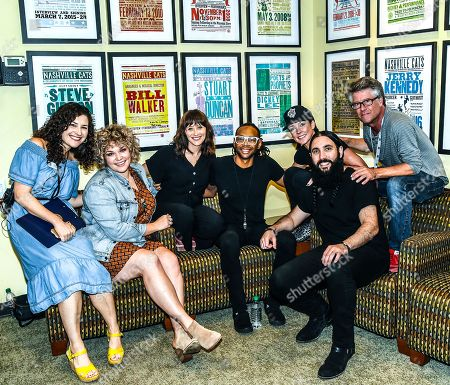 Stock Picture of Abi Tapia Director Programs Country Music Hall of Fame and Museum, Singer Songwriters Lauren Morrow, Ashley Wilcoxson, Jerry Pentecost, Amanda Shires, Ron Pope with Jed Hilly Executive Director Americana