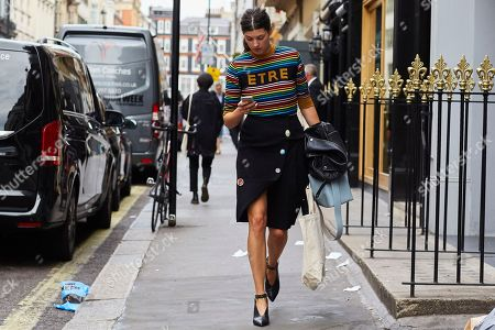 Editorial image of Street Style, Spring Summer 2019, London Fashion Week, UK - 16 Sep 2018