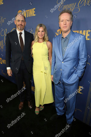 Edward Berger, Nele Mueller-Stofen, Edward St Aubyn. Edward Berger, Nele Mueller-Stofen and Edward St Aubyn pictured at Showtime's Emmy Eve Celebration at the Chateau Marmont in West Hollywood, CA on