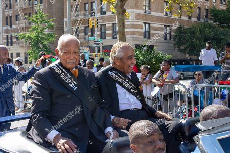 Former NYC Mayor David Dinkins (l) and former Harlem Congressman Charles Rangel.