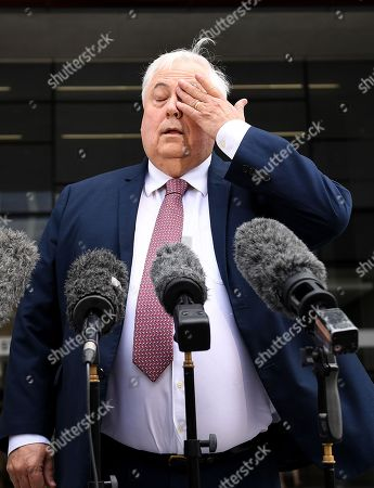 Australian businessman Clive Palmer reacts during a press conference outside the Supreme Court in Brisbane, Australia, 17 September 2018. Palmer has succeeded in his bid to have a Supreme Court Judge in Brisbane recused from an upcoming trial related to the 2016 collapse of Queensland Nickel.
