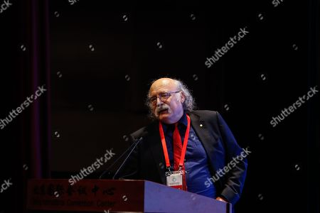 Physicist Duncan Haldane, Nobel prize physics laureate 2016, delivers a speech at a science communication forum during World Conference on Science Literacy at the Beijing International Convention Center, in Beijing, China, 17 September 2018. The conference theme of 'Science Literacy for a Shared and Better Future', is the first international conference dedicated to promoting public science literacy. The conference will be held from 17 to 19 September 2018, and will comprise more than 40 activities, including sessions, exhibitions and special events.