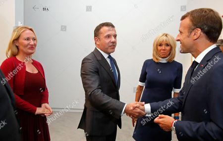 "Stock Image of French President Macron visits the ""Picasso. Bleu et rose"" exhibition dedicated to Pablo Picasso's blue and rose periods at the Musee d'Orsay in Paris. French President Emmanuel Macron, left, and his wife Brigitte, second left, meet Olivier and Diana Widmaier Picasso, grandson and granddaughter of Pablo Picasso, at the ""Picasso. Bleu et rose"" (Picasso. Blue and Rose) exhibition dedicated to Pablo Picasso's blue and rose periods at the Musee d'Orsay in Paris, France"