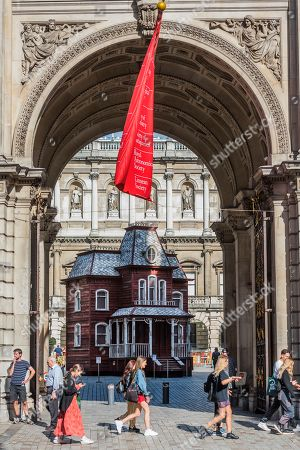 Stock Photo of Cornelia Parker's Transitional Object (Psychobarn) at the Royal Academy of Arts.