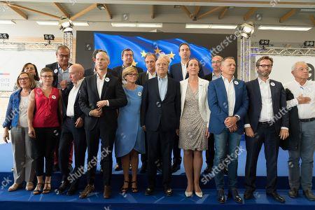 Stock Photo of Claude Malhuret, Franck Riester, Agnes Firmin Le Bodo, Alain Juppe, Fabienne Keller and guests.  Franck Riester, Jean-Pierre Raffarin, Alain Juppe, Frederic Lefebvre, Fabienne Keller