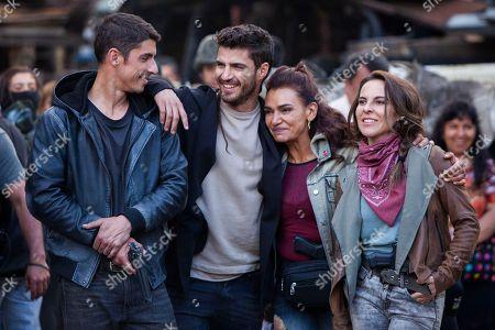 Stock Image of Alberto Guerra as Canek Lagos, Maxi Iglesias as Ovni, Aida Lopez as Chela Lagos, Kate Del Castillo as Emilia Urquiza