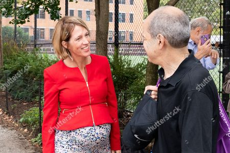 Zephyr Teachout campaigning for the Democratic Party nomination for Attorney General of New York State on Primary Day near the West Side High School located on the Upper West Side of New York City.