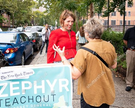 Stock Picture of Zephyr Teachout campaigning for the Democratic Party nomination for Attorney General of New York State on Primary Day near the West Side High School located on the Upper West Side of New York City.
