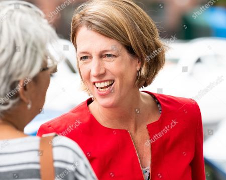 Stock Image of Zephyr Teachout campaigning for the Democratic Party nomination for Attorney General of New York State on Primary Day near the West Side High School located on the Upper West Side of New York City.