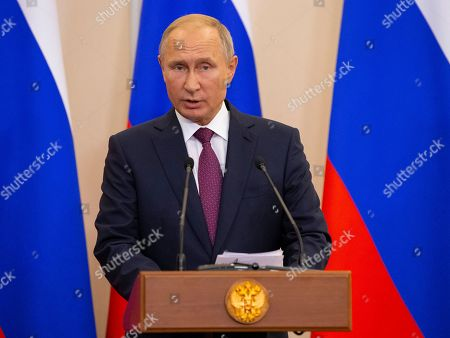 Russian President Vladimir Putin speaks during a joint news conference following  talks with Turkish President in the Bocharov Ruchei residence in the Black Sea resort of Sochi, Russia, Monday, 17 September 2018.  The presidents of Russia and Turkey are meeting in the Russian Black Sea resort of Sochi in a bid to find a diplomatic resolution to the crisis around Idlib, a rebel-held region in Syria.