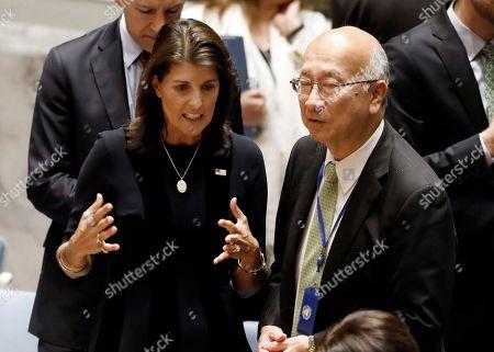 Nikki Haley, Koro Bessho. U.S. Ambassador Nikki Haley, left, talks with Japan's Ambassador Koro Bessho in the United Nations Security Council, at U.N. headquarters