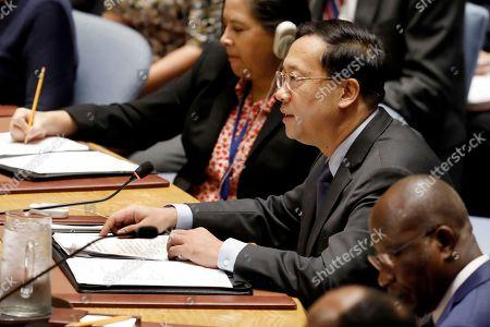 China's United Nations Ambassador Ma Zhaoxu addresses the U.N. Security Council, at U.N. headquarters