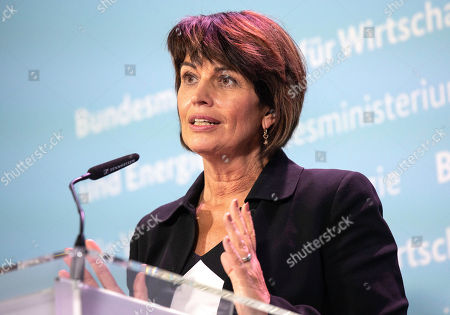 Swiss Federal Councilor Doris Leuthard speaks speaks during a press conference with German Federal Minister for Economic Affairs and Energy Peter Altmaier (not pictured) at the German Ministry of Economic Affairs in Berlin, Germany, 17 September 2018.